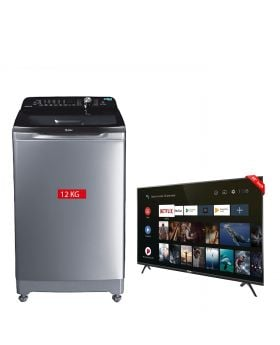 """Haier HWM 120-1678 Series Top Loading Washing Machine + TCL 40"""" Smart Android LED TV 40S6500"""