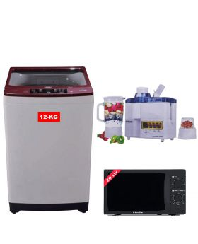 Haier Full Automatic Washing Machine HWM-120-826E + EcoStar Microwave Oven 20 Ltrs EM 2023BSM  + National Juicer 3 in 1 N-149
