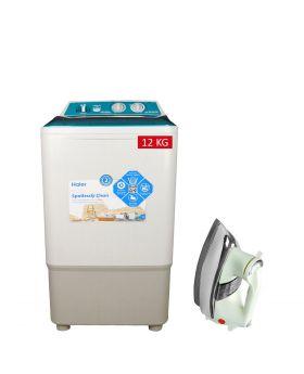 Haier Single Tub Washing Machine HWM-12035FF + National Deluxe Automatic Iron