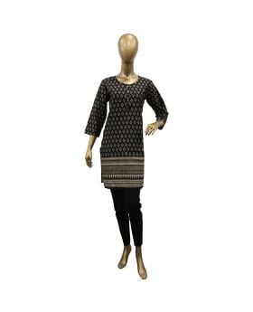 LADIES STICHED KURTI WITH GOLDEN FLOWERS PATTERN