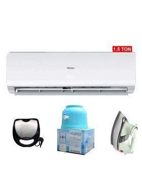 Haier 1.5 Ton Non-Inverter AC HSU-18CF + National Deluxe Automatic Iron + Target Water Dispenser + Aldon Gold Sandwich Maker