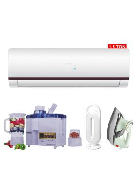 Haier HSU-18HFM Marvel 1.5 Ton DC Inverter Air Conditioner + National Juicer 3 in 1 N-149 + DP LED light + National Deluxe Automatic Iron