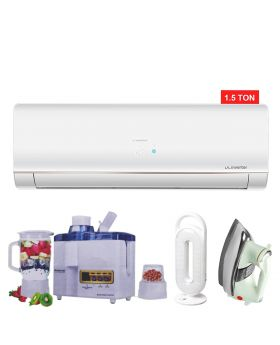 Haier HSU-18LFCB Cool Only Inverter Air Conditioner + National Juicer 3 in 1 N-149 + DP LED light + National Deluxe Automatic Iron