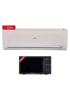 Haier HSU-12HFC 1 Ton Wifi DC Inverter Air Conditioner +  EcoStar Microwave Oven 20 Ltrs EM 2023BSM