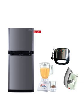 Orient Ice Refrigerator 280 Liters + National Romex Blender 2 In 1 + National Deluxe Automatic Iron + National Sandwich Maker NP-590