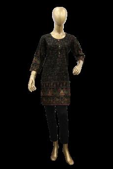 ladies-stiched-kurti-black-with-multi-dots-design