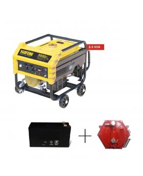 Yaofeng 3.5 KW Heavy Duty Petrol & Gas Generator YP3500E Yellow & Black + Gaskit + Battery