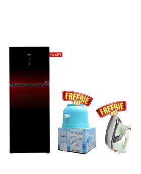 Haier Glass Door HRF-398 IPB / IPR Digital Panel Inverter Refrigerator + Target Water Dispenser + National Deluxe Automatic Iron