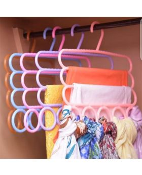 3 Layers Clothes Hanger with Multi-Layer Scarf Rack