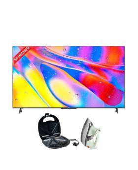 """TCL 55"""" C725 QLED TV + Aldon Golden Sandwich Maker AD-252 + National Deluxe Automatic Iron"""