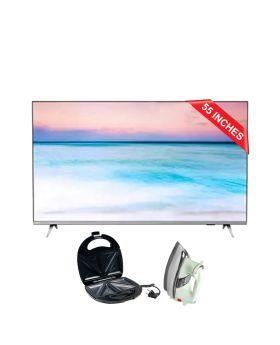 "Philips 6600 series, 55"" 4K UHD LED Smart TV 4k 55PUT6654_98 + National Deluxe Automatic Iron + Aldon Golden Sandwich Maker AD-252"