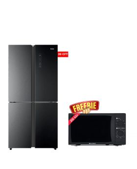 Haier T Door No Frost Inverter Refrigerator Black Metal 578TBP + EcoStar Microwave Oven 20 Ltrs EM 2023BSM