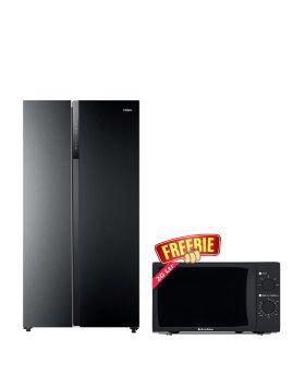 Haier Side by Side Inverter Refrigerator HRF-622IBS + EcoStar Microwave Oven 20 Ltrs EM 2023BSM