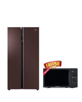 Haier Side by Side Inverter Refrigerator HRF-622 ICG + EcoStar Microwave Oven 20 Ltrs EM 2023BSM