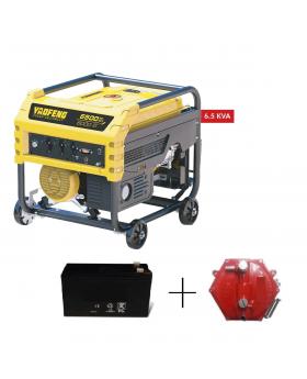 Yaofeng 6.5 KW Heavy Duty Petrol & Gas Generator YP6500E Yellow & Black + Gaskit + Battery