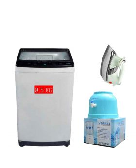 Haier HWM 85-826 Top Loading Automatic Washing Machine 8.5 Kg + National Deluxe Automatic Iron + Target Water Dispenser