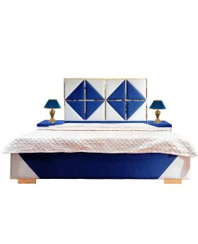 Blue Glossy Bed Set