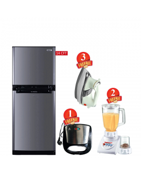 Orient Refrigerator Ice 380 Liters + National Romex Blender 2 In 1 + National Deluxe Automatic Iron + Aldon Gold Sandwich Maker AD-252