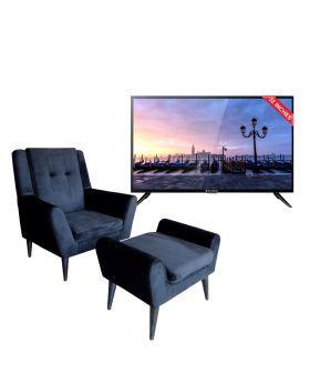 EcoStar 32 Inch Sound Pro CX-32U577 LED TV + Charcoal sofa + Ottoman