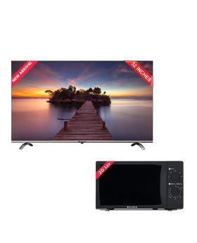 EcoStar 32 Inch Android LED CX-32U870 LED TV + EcoStar Microwave Oven 20 Ltrs EM 2023BSM