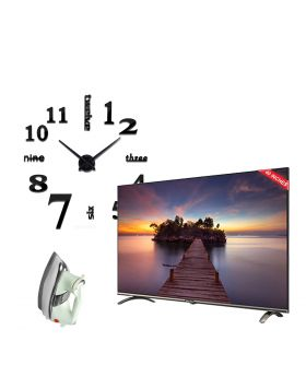 EcoStar 40 Inch Smart Android TV - CX-40U870 + Unique and Creative NEW 3D DIY Wall Clock + National Deluxe Automatic Iron