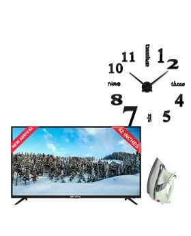 EcoStar 42 Inch Smart LED TV - CX-42U863 + Unique and Creative NEW 3D DIY Wall Clock + National Deluxe Automatic Iron