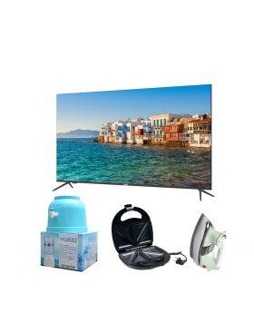 """Haier 32"""" 32K6600 Android 9.0 Smart Full Glass TV (Frame Less) + National Deluxe Automatic Iron + Target Water Dispenser + Aldon Golden Sandwich Maker AD-252"""