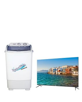 "Haier 32"" 32K6600 Android 9.0 Smart Full Glass TV (Frame Less) + Kenwood 8kg Single Tub Washing Machine KWM-899W"