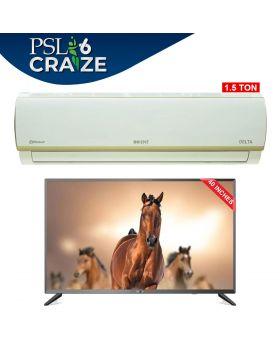 "Haier Smart LED 40K6600 - 40"" Full HD Android 9.0 Glass TV (Frame Less) + Orient Dalta  Split Air Conditioner 1.5 Ton (DAlta-18)"