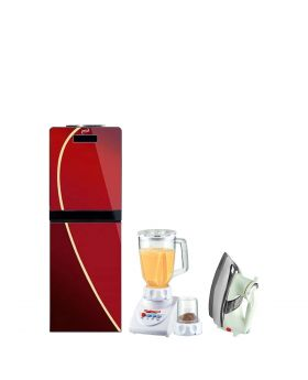 Homage 3 Taps Glass Door Water Dispenser Red - HWD-49432 + National Romex Blender 2 In 1 + National Deluxe Automatic Iron