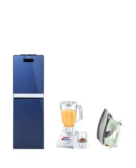 Homage 3 Taps Glass Door Water Dispenser Blue - HWD-49432 + National Romex Blender 2 In 1 + National Deluxe Automatic Iron