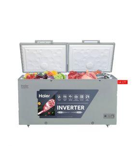 Haier Double Door Inverter Deep Freezer HDF-385IM Meatallic Grey