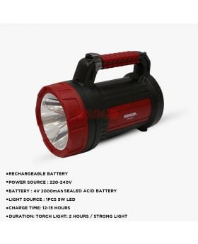 Sogo Rechargeable 5W Led Torch Light JPN-8815