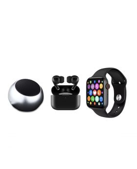 Apple Airpods Pro White & Black (Master Copy) + Smart watch Bluetooth W26 + Rechargeable Bluetooth Mini Speaker M3