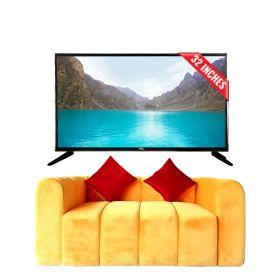 """Pel 32"""" HD LED TV + Mustard Block Sofa"""