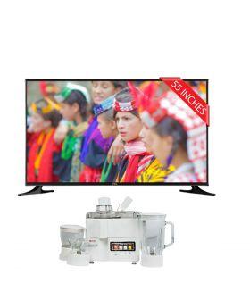 """Pel LED TV 55"""" Ultra-HD Smart + National Juicer, Blender, Grinder & Dry Mill JPN-668 (4 in 1)"""
