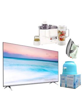Philips 65 Inch 4K UHD LED Smart TV - 65PUT6654/98 + National 3 In 1 Juicer, Blender & Dry Mill SP-178-J + National Deluxe Automatic Iron +  Target Water Dispenser