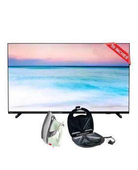 "Philips 6600 series, 50"" 4K UHD LED Smart TV 4k 50PUT6604_98 + Aldon Golden Sandwich Maker AD-252 + National Deluxe Automatic Iron"