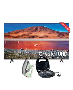Samsung LED Smart TV 65TU7000 - 65 Inches + National Deluxe Automatic Iron + Aldon Golden Sandwich Maker AD-252
