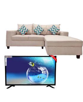"SG 42"" Inch Led Tv Boom Boom Series + Smokey Reversible Corner Sofa"