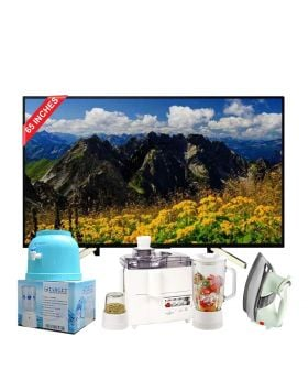 Sony 65 Inch LED Ultra HD TV (KD-65X7500) + National 3 In 1 Juicer, Blender & Dry Mill SP-178-J + National Deluxe Automatic Iron + Target Water Dispenser