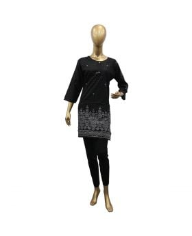 LADIES STICHED KURTI BLACK WITH LIGHT GRAY DOTTED FLOWER DESIGN