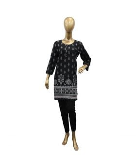 LADIES STICHED KURTI BLACK WITH LIGHT GRAY FLOWERS