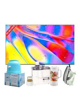 """TCL 75"""" C725 QLED TV + National 3 In 1 Juicer, Blender & Dry Mill SP-178-J +  National Deluxe Automatic Iron + Target Water Dispenser"""