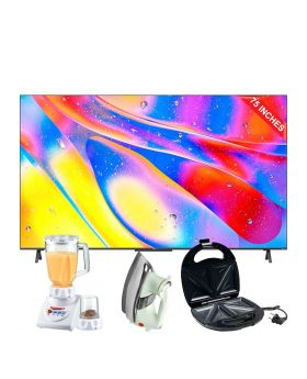 """TCL 75"""" C725 QLED TV + National Romex Blender 2 In 1 + National Deluxe Automatic Iron + Aldon Golden Sandwich Maker AD-252"""