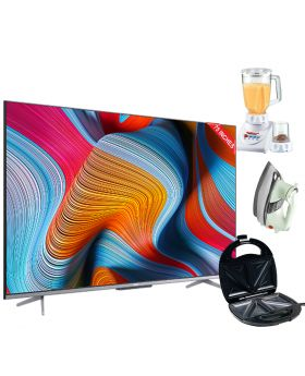 """TCL 75"""" P725 UHD Android TV +  Aldon Golden Sandwich Maker AD-252 + National Deluxe Automatic Iron +  National Romex Blender 2 In 1"""