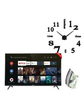 """TCL 40"""" Smart Android LED TV 40S6500 + Unique and Creative NEW 3D DIY Wall Clock + National Deluxe Automatic Iron"""