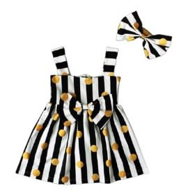 Polka Dots Bow Decor Strap Dress & Headband In 2 Piece